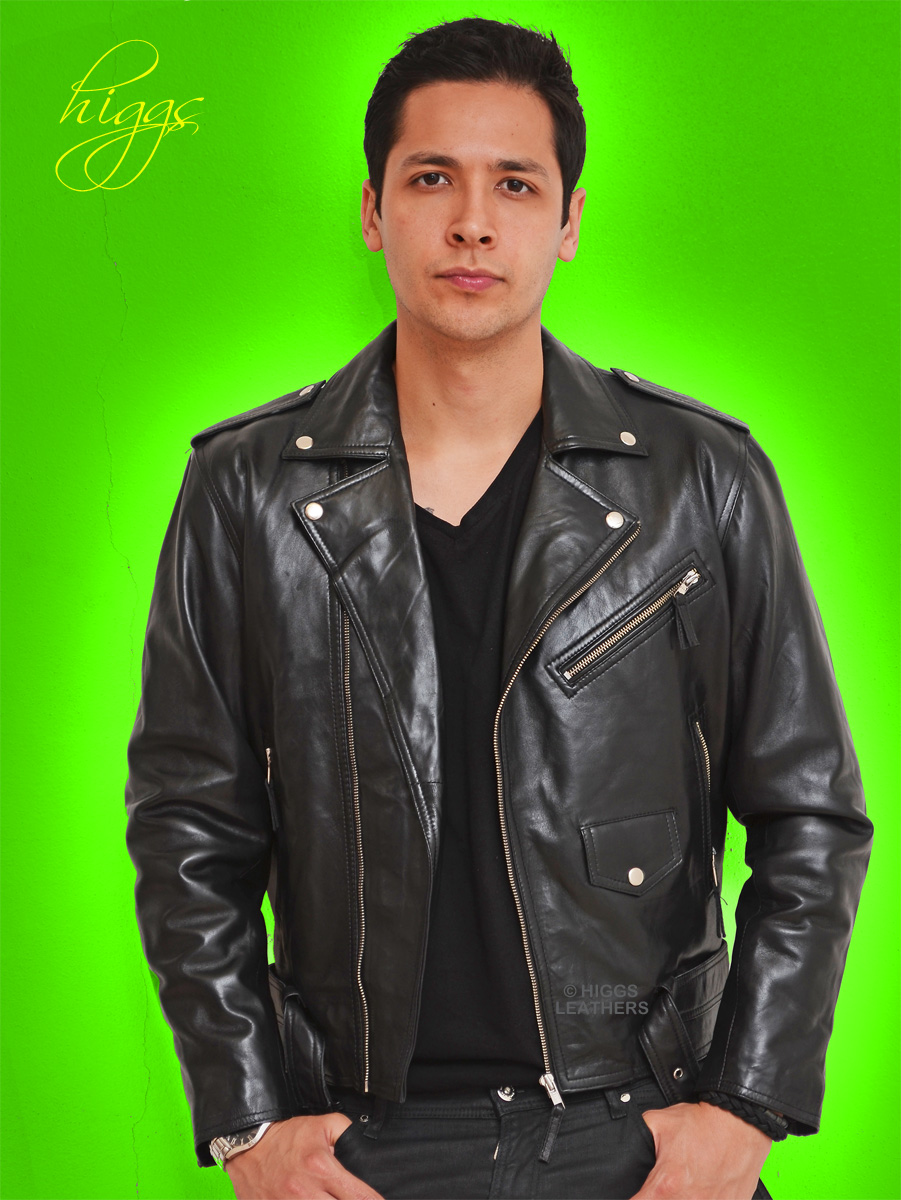 Higgs Leathers {NEW STOCK!}  Brandex (men's Black Leather Biker jackets)